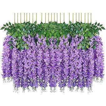 מלאכותי מזויף ויסטריה גפן תליית משי פרחים בית מסיבת חתונה תפאורה (24pcs, סטרנד, לבן)