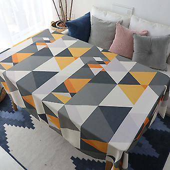 Geometrische Dreiecksmuster Tischdecke, rechteckige Tischdecke, Mehrzweck-Tischdecke für Couchtisch, Wohnzimmer und Esszimmer, gelb (140 * 14