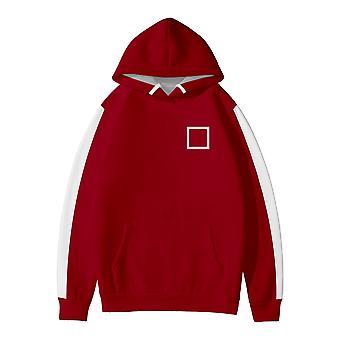 Square Print Squid Game Hooded Sweatshirt Men And Women Sweatshirt Red (one Adult Sweatshirt)