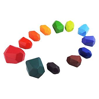 12 PC子供木製の色の石の積層ゲームビルディングブロックキッズトイズギフト