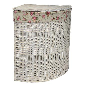 Large Corner White Wash Laundry Basket with a Garden Rose Lining