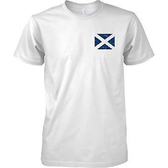 Schottische Andreaskreuz gequält Grunge Effekt Flaggendesign - Kinder-Brust-Design-T-Shirt