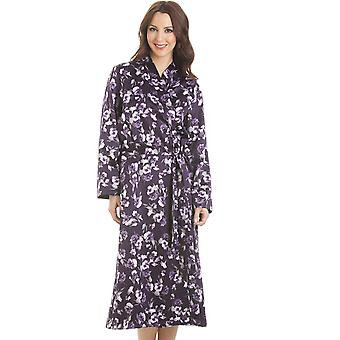 Camille Purple Floral Wrap longue Satin imprimé