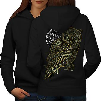 Nature Owl System Animal Women BlackHoodie Back | Wellcoda