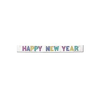 Bannière métallique Happy New Year - couleurs mélangées
