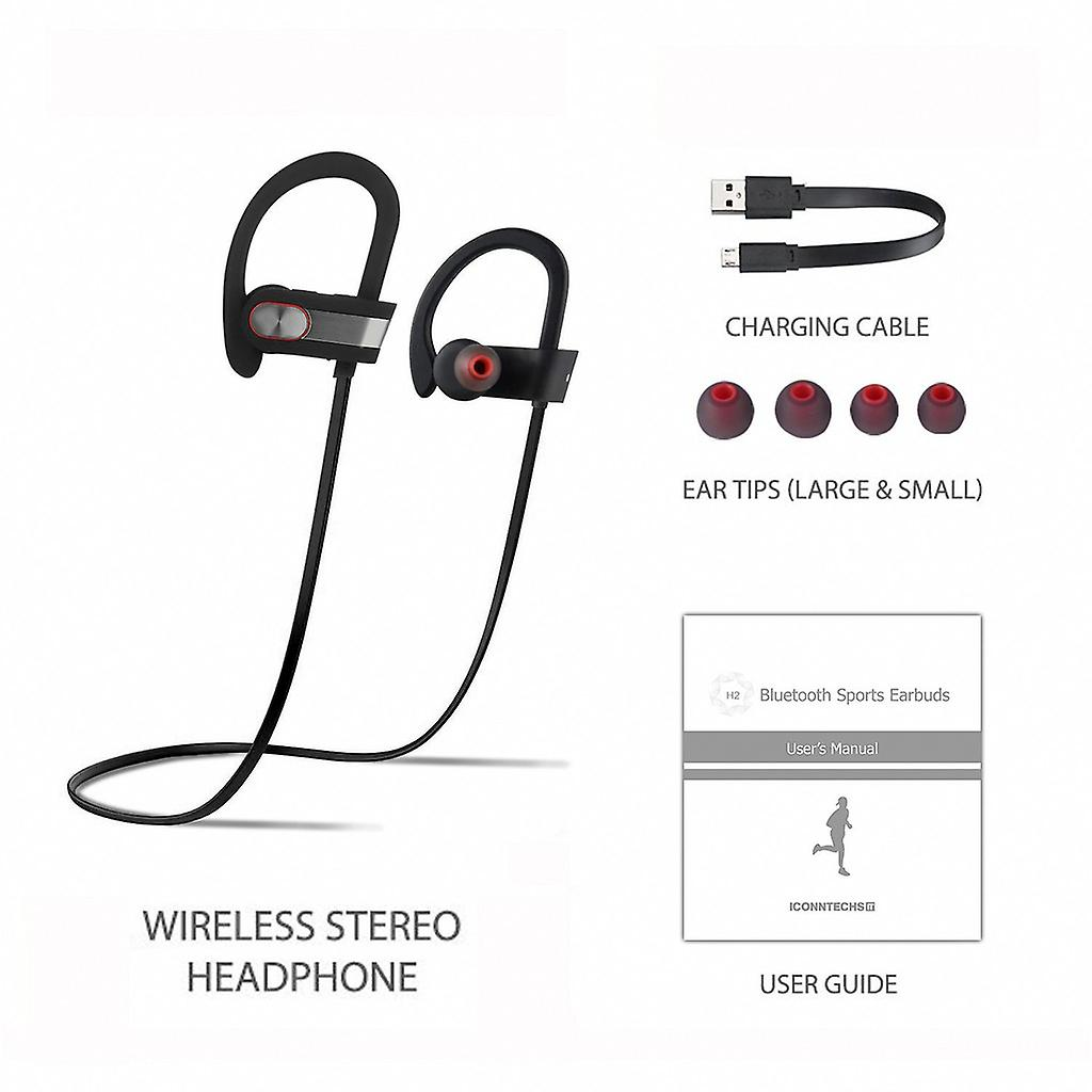 REYTID Wireless Sports Earphones w/ Mic & Vol Control - HD Sound Noise Isolation Working Out Gym Sweatproof Behind-Ear Headphones Bluetooth Earbuds Headset Compatible with iPhone and Android