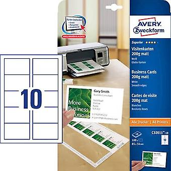 Avery-Zweckform C32011-10 Printable business cards (smooth edge) 85 x 54 mm White 100 pc(s) Paper size: A4
