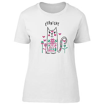 Lovely Floral Ethnic Cat Doodle Tee Women's -Image by Shutterstock