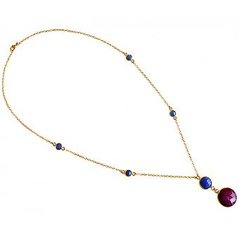Pendant 925 Silver - gold plated ladies - necklace - 45 cm - faceted Sapphire - Ruby - blue - red-