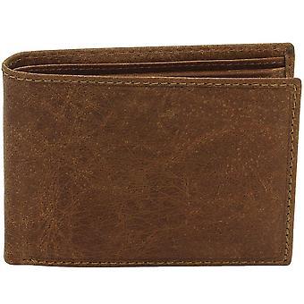 フリードリヒ ・革財布ビンテージ ライン水牛革ブラウン RFID 保護