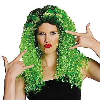 Curly long TIG green shoulder length curly wig ladies black green approach
