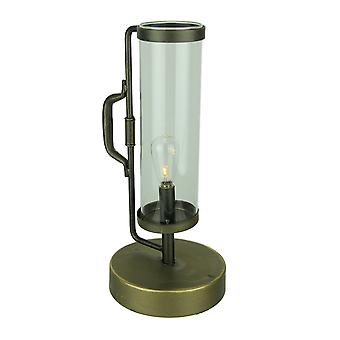 LED Vintage Lantern with Clear Glass Hurricane Shade Accent Light