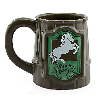 Lord of the Rings Tasse Prancing Pony 3D braun/grün, bedruckt, aus Keramik, in attraktiver Geschenkbox