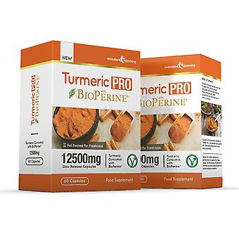 Turmeric Pro with BioPerine 12,500mg 95% Curcuminoids - 120 Capsules - Fat Burner - Evolution Slimming
