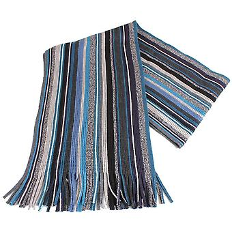 Bassin and Brown Benaud Striped Scarf - Green/Blue/Grey