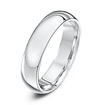 Anéis de casamento estrela 9ct ouro branco Heavy tribunal forma 5mm anel de casamento