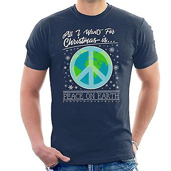Tutto quello che voglio per Natale è pace sulla t-shirt terra degli uomini