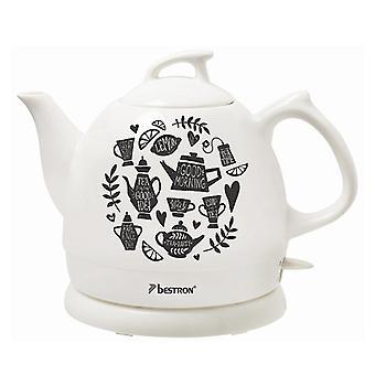 DTP800TP Keramik Wasserkocher Bestron 1800W 0,8 L weiß/schwarz