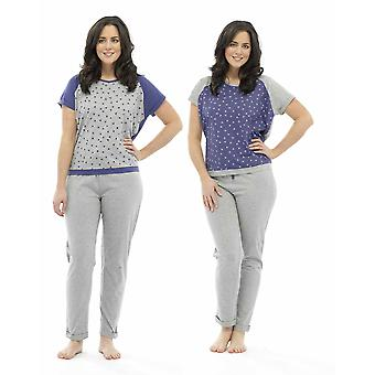 2 Pack Damen Tom Franks Star Print Polycotton lange Pyjama Pyjama Lounge tragen