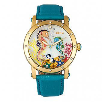 Bertha Morgan MOP Leather-Band Ladies Watch - Gold/Turquoise