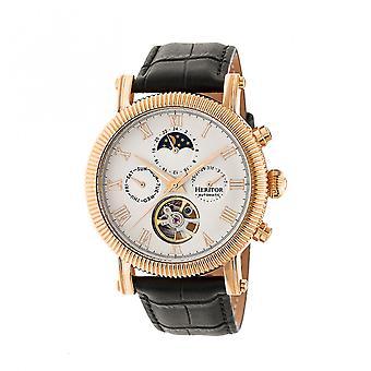 Heritor Automatic Winston Semi-Skeleton Leather-Band Watch - Rose Gold/White