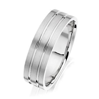 Star Wedding Rings Palladium 950 Light Flat Court Matt With Two Polished Grooves 6mm Wedding Ring