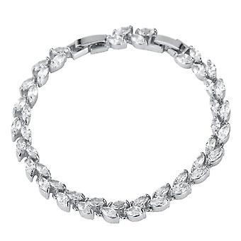 Bracelet U7 avec strass en forme de feuille-Argent et Blanc