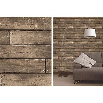 Décor fine planche de bois brun réaliste Design bois effet 3D Wallpaper