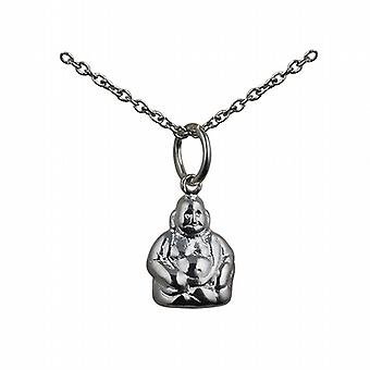 Silver 11x9mm Buddha Pendant with a rolo Chain 24 inches