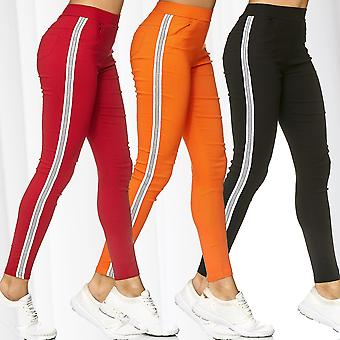 Women Treggings Glitter Side Stripes Pants Trackpants Stretch Skinny Tube