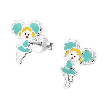 Children's Sterling Silver Blue Cheerleader Stud Earrings