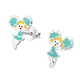 Kinder-Sterling Silber-Blau-Cheerleader Stud Ohrringe