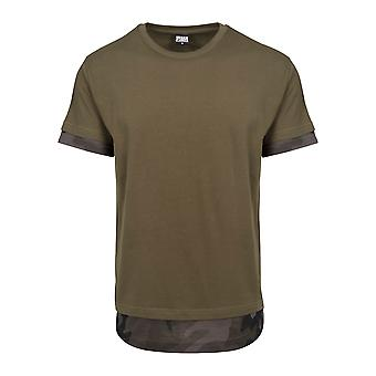 Urban Classics Herren T-Shirt Long Shaped Camo Inset