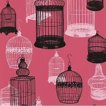 Birdcage Wallpaper Pink White Black Luxury característica moderna pega la pared