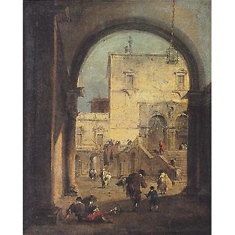 Utsikt over en firkant med Palace, Francesco Guardi, 50x40cm