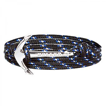 Holler Mosley Silver Polished Anchor/Black, Blue and White Paracord Armband HLB-02SRP-P14