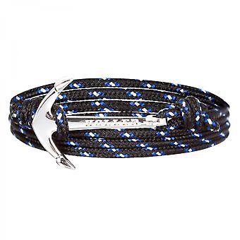 ホラー モズレー シルバーポリッシュ アンカー / ブラック, ブルー と ホワイト パラコード ブレスレット HLB-02SRP-P14