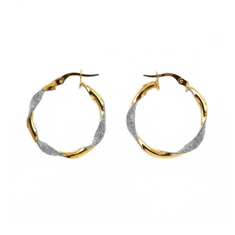 Eternity 9ct Gold Large Round Glitter Twisted Creole Hoop Earrings