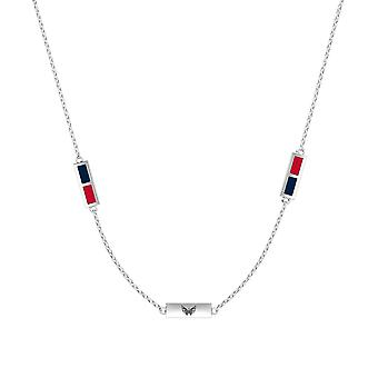 Washington Capitals Sterling Silver Engraved Triple Station Necklace In Blue & Red