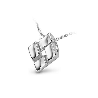 PENDANT WITH CHAIN SQUARE 925 SILVER WITH REAL DIAMOND