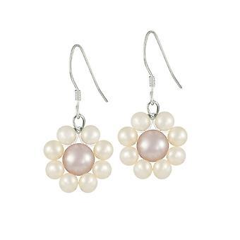Eternal Collection Genteel Multi Colour Freshwater Pearl Sterling Silver Drop Pierced Earrings