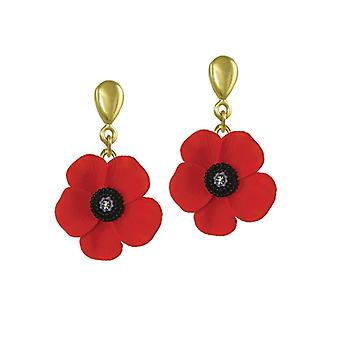 Eternal Collection Poppy Red And Black Enamel Gold Tone Drop Pierced Earrings