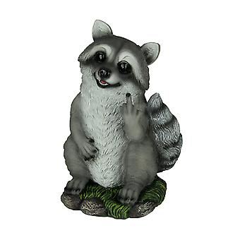 Rascally Raccoon Bird Finger Yard or Garden Statue
