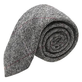 Cravatta grigio peltro di lusso a spina di pesce