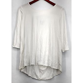 Kate & Mallory Top 3/4 Sleeve w/ Scoop Neck & Criss Cross Back White A428883