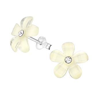 Flower - 925 Sterling Silver Crystal Ear Studs - W21974x
