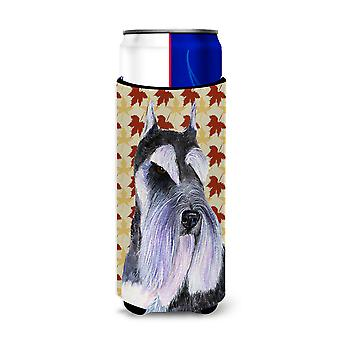 Schnauzer Fall Leaves Portrait Ultra Beverage Insulators for slim cans SS4379MUK