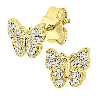 Citerna Women's Earrings - in Yellow Gold 9K - with Cubic Zirconia - Brilliant Round Cut
