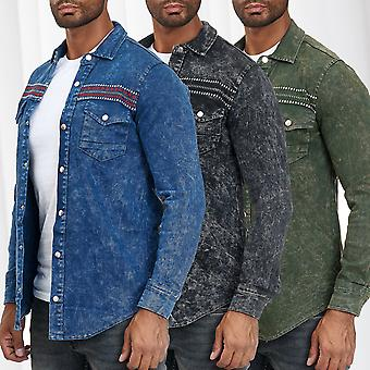 Men's Shirt Jeans Look Longsleeve Mottled Embroidered Transition Jacket Pattern