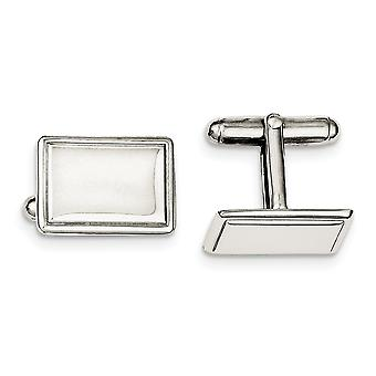 925 Sterling Silver Solid Polished Engravable Cuff Links Jewelry Gifts for Men - 12.5 Grams